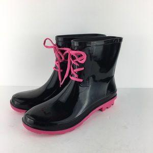 Pink/Black Lace Up Rain-boots Size 10